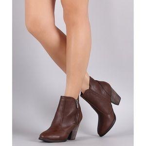 Dollhouse Arrogant Block Heel Brown Ankle Booties